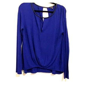 Long sleeve rayon VNeck Ella moss blouse